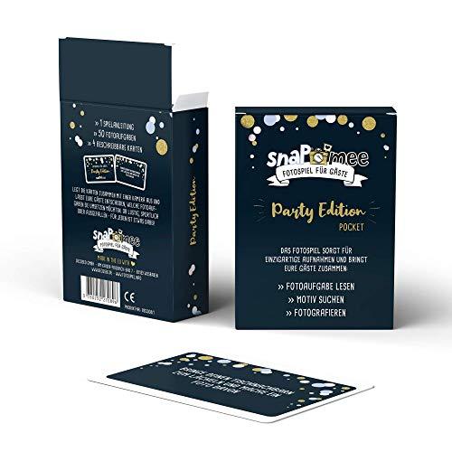 Fotospiel Party Geburtstag & Co | snaPmee Pocket | 50 Fotoaufgaben | Partyspiel für Gäste | Kombinierbar mit Fotobox | Geschenk Silvester, Weihnachten